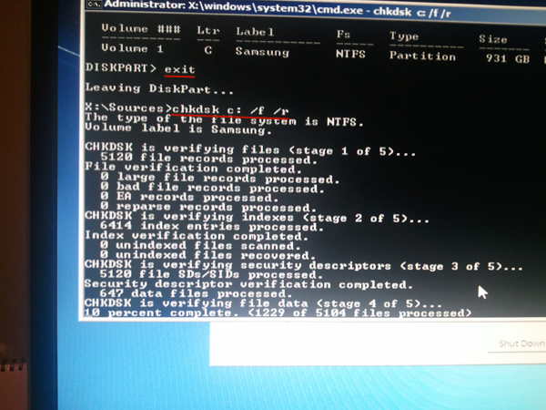 exit command to exit diskpart and using chkdsk