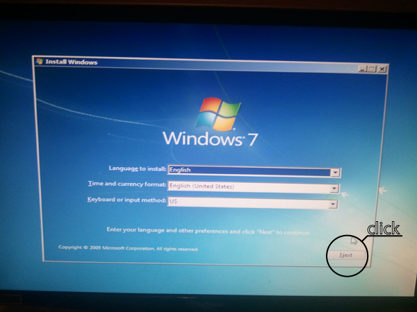 The first interactive screen on the Windows 7 Boot disk