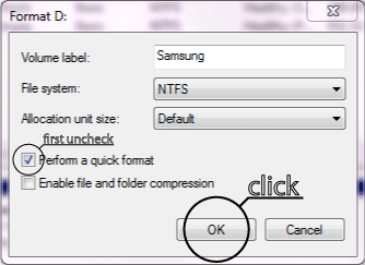 Format Drive dialog box using the Disk Management tool in Windows