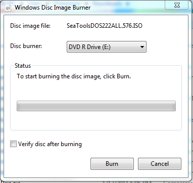 burning a disk using Windows Disk Image Burner