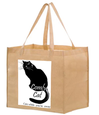 Cat on bag with white background