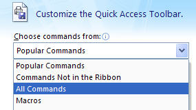 All Commands Menu Choice