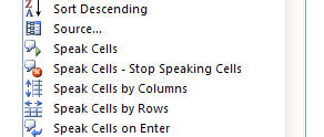 Speak Cells Commands