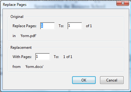 Replace Pages Dialog Box