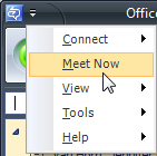 meet now drop down menu