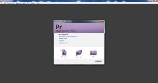 Premiere Pro Welcome Screen
