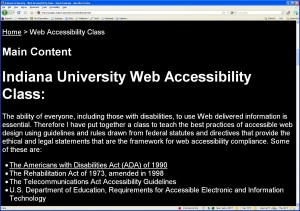 High Contrast view (White on Black) of the Web Accessibility Good Example Web Page