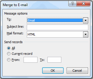 Merge to Email dialog box