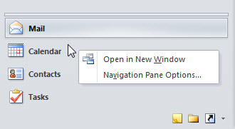Right-click on Calendar button and you see the text: Open in New Window