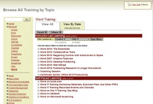 Training Browser - Initial View Word Selected