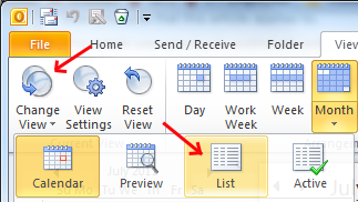 A screen capture of the View tab, indicating how to change view to list