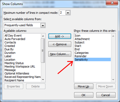 "Screen capture of ""show columns"" dialog box, with Sensitivity highlighted"