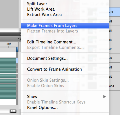 Make frames from layers command