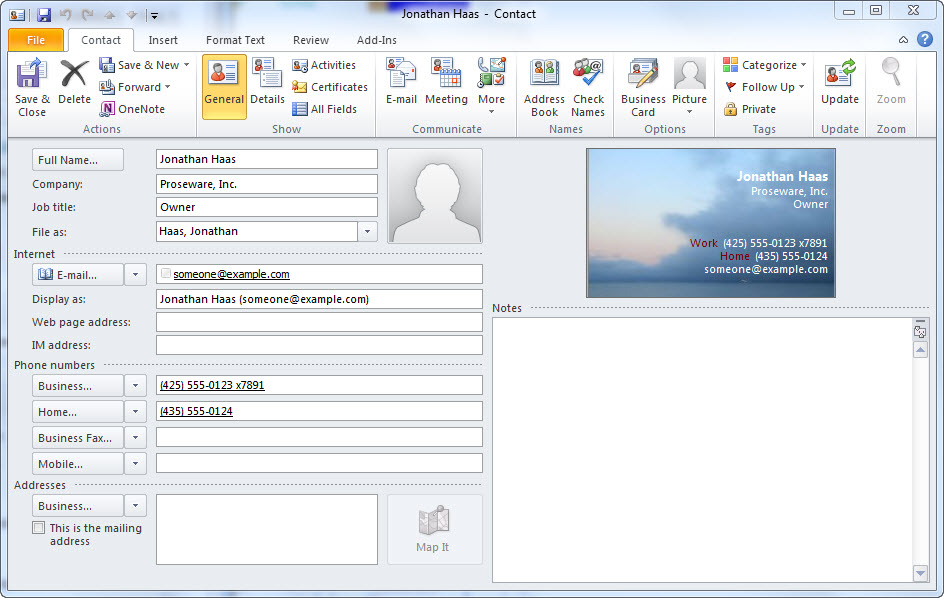 Quick tip create an electronic business card from a microsoft replace accmission