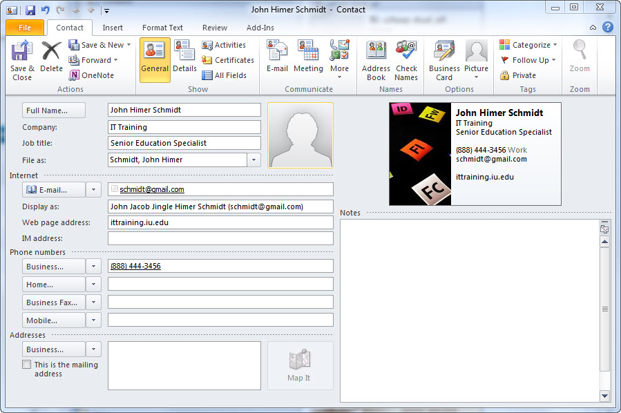 Quick tip create a business card in outlook 2010 it training tips click reheart Choice Image