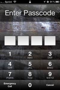 iPhone Lock Screen with a Passcode Prompt