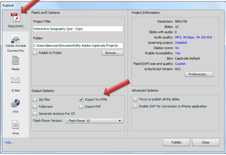 Captivate publish dialog box