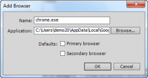 Add Browser Dialog Box when adding Chrome