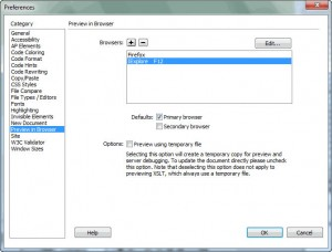 Dreamweaver's Preferences for Preview in Browser
