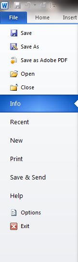File Menu from Word