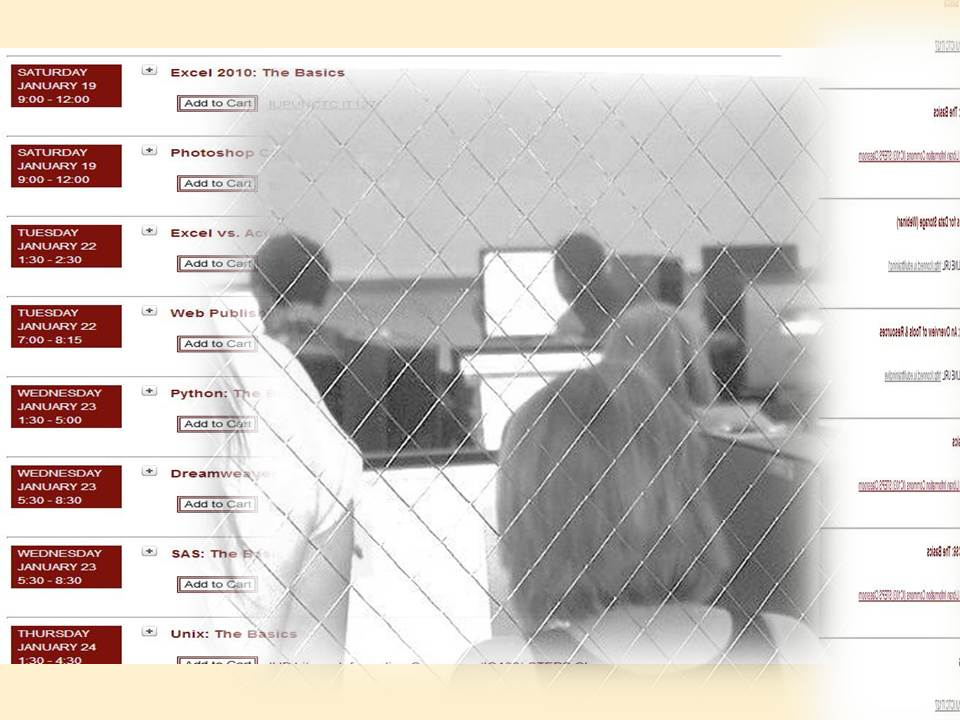IT Training Schedule page and picture of students in classroom