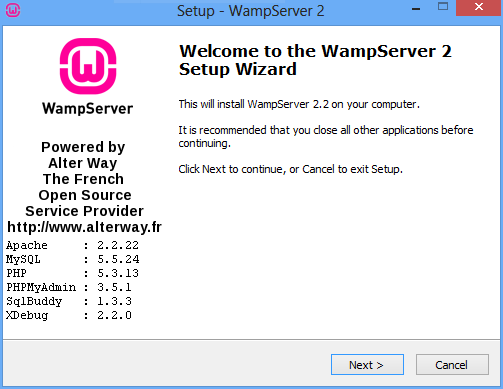 WampServer installer wizard first page