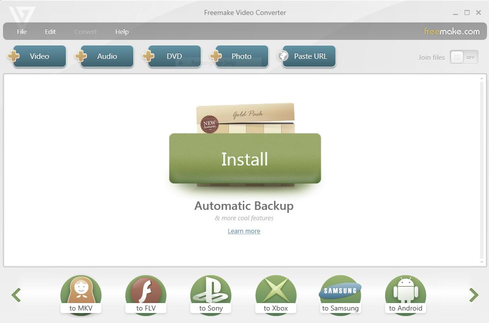 Freemake Video Converter User Interface