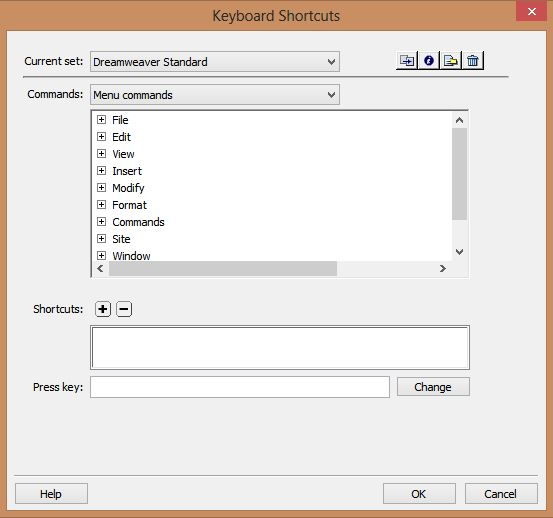 Dreamweaver Keyboard Shortcuts dialog box.