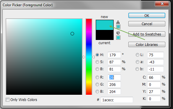 Color Picker menu in Photoshop