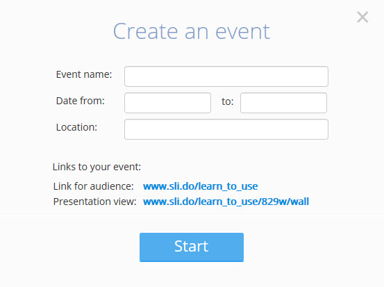 create an event dialog box