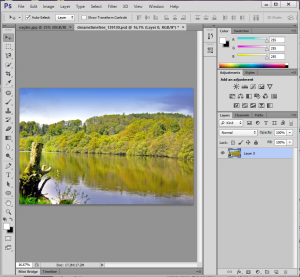 River image in Photoshop. One layer only at this point.