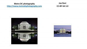 Screenshot of two pictures of different sizes, side-by-side, of the Jefferson Memorial.