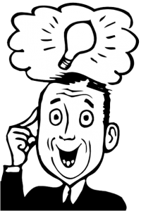 Clipart of man with a bright idea.