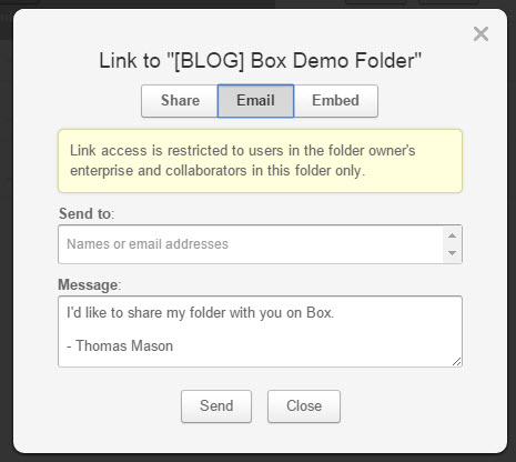 Email modal dialog