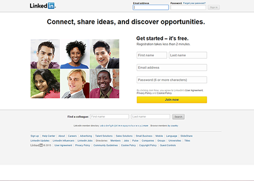A screen capture of the LinkedIn login page.
