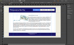 Screenshot of a website created in Adobe Muse.