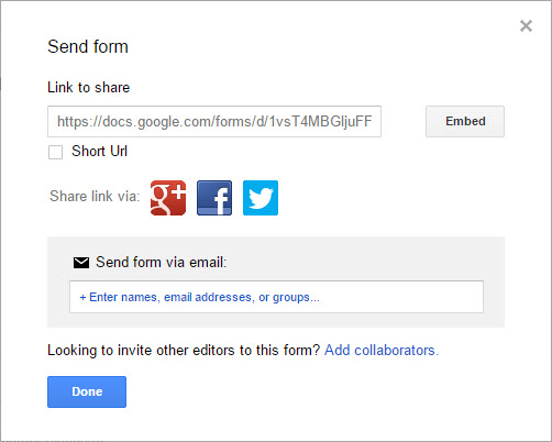 Image of the Send Form modal box.