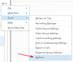 Options menu for Skype for Business, found under the Tools menu.