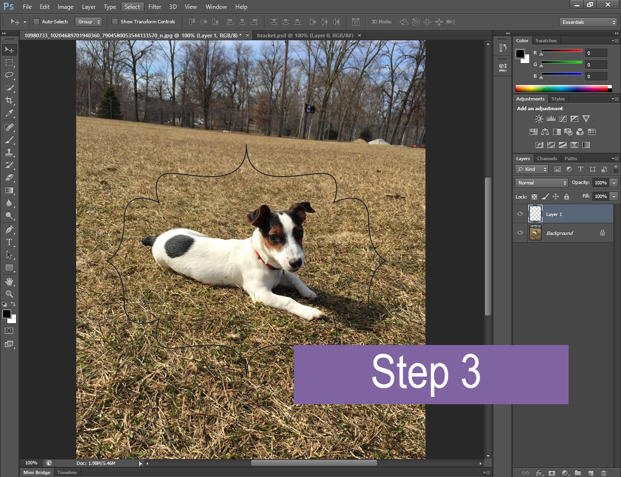 a puppy image open in Photoshop with a bracket-shaped graphic placed on a different layer overtop