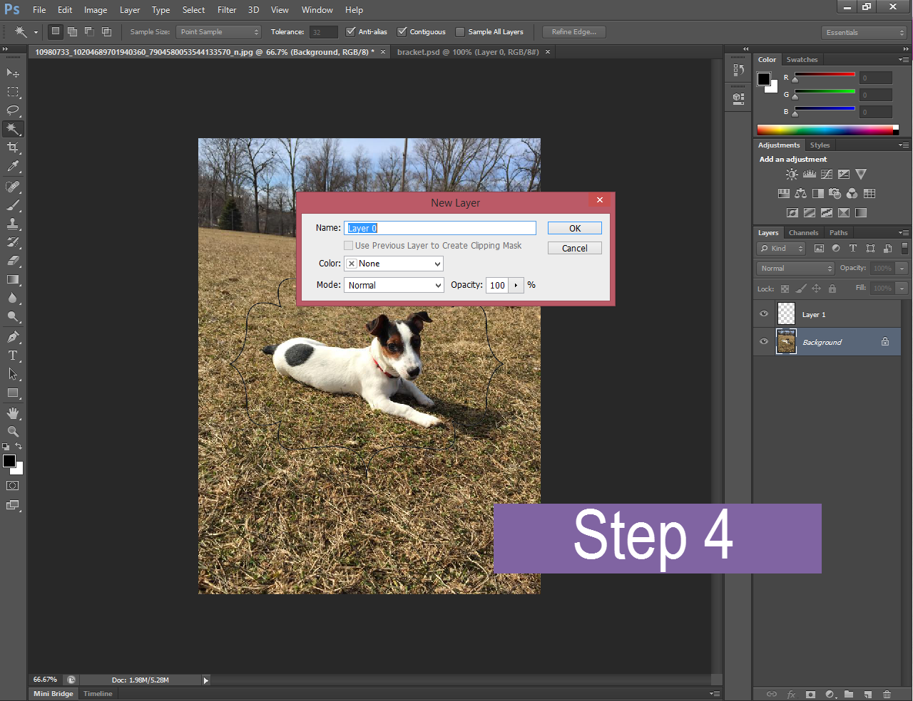 Photoshop with a pop-up window asking what we want to name a layer