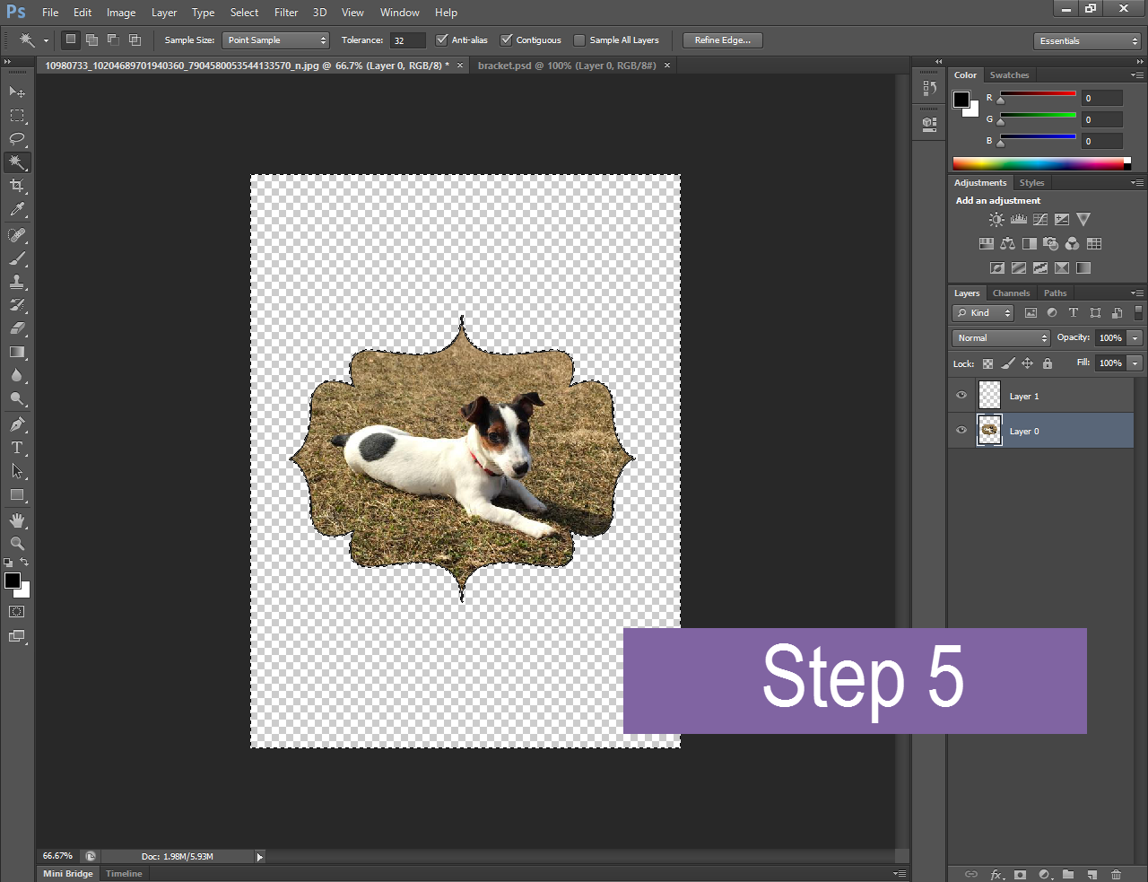 a bracket shaped image of a puppy open in Photoshop