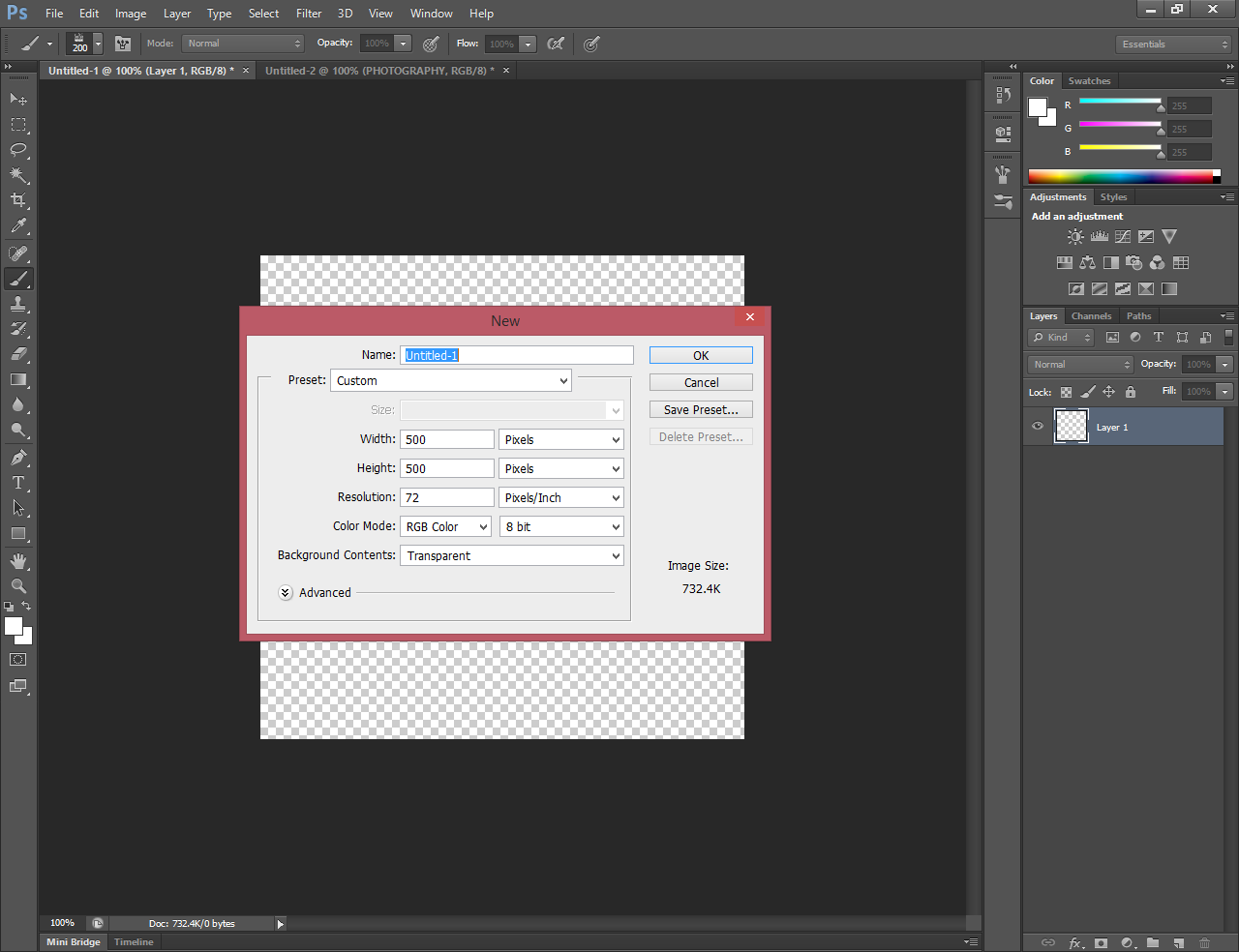 Photoshop open with a pop-up declaring that the user is creating a new document and needs to select some options