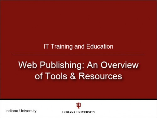 Screenshot of the Web Publishing: An Overview of Tools & Resources opening slide.