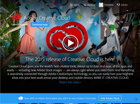 The Adobe Creative Cloud 2015 What's New website. Click to go!