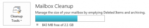 Screensnap of the Outlook Cleanup Tools, with a bar graph representing how much of email quota is being used.