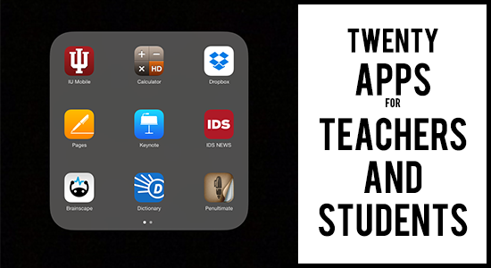 title image stating '20 apps for teachers and students""