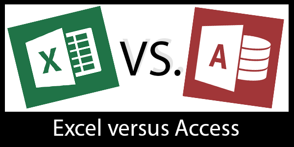 "Title image that says ""Excel vs. Access"" and shows the excel and access logos"