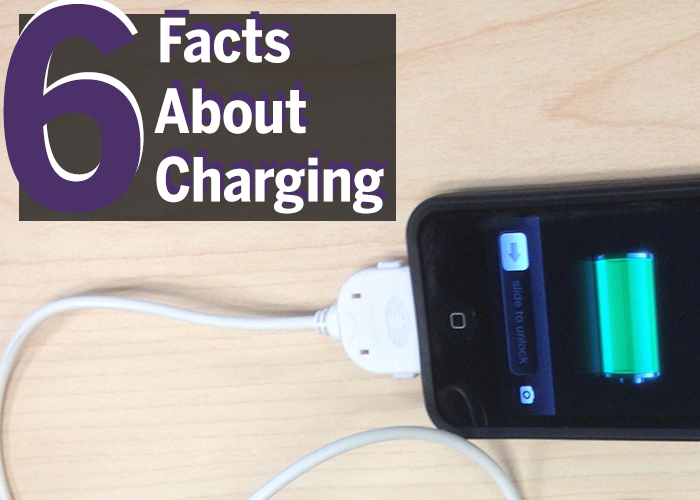 "A title image that says ""6 facts about charging"" and has a picture of an iphone 4 on an off-brand charger."