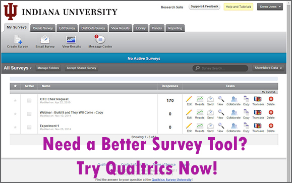 "Qualtrics home page with heading ""Need a better survey tool? Try Qualtrics now!"""