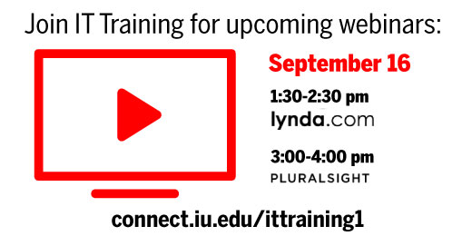 Join IT Training for upcoming webinars on lynda.com and Pluralsight